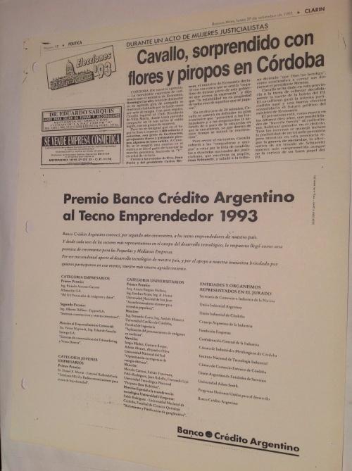 Premio Banco de Crédito Argentino al Tecno emprendedor del año 1993.